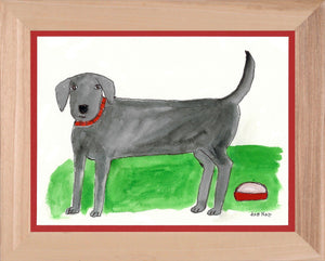 Grey Dog with Dish - 8.5x11 Watercolor and Pen on Paper - dug Nap Art
