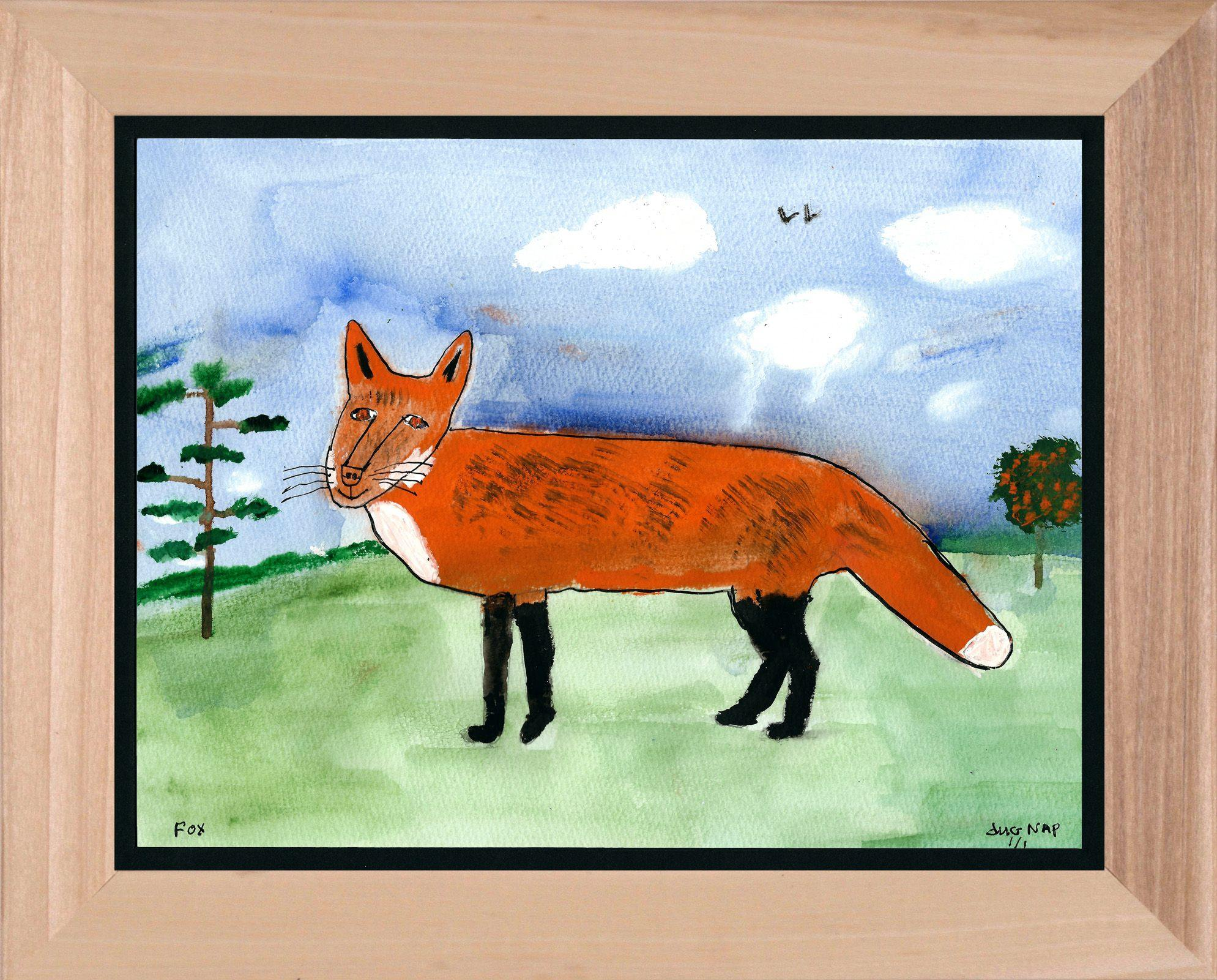 Fox in a Field - 8.5x11 Watercolor and Pen on Paper - dug Nap Art