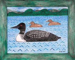 Three Loons - 14x18 Oil on Board - dug Nap Art