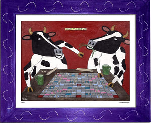 P609 - Cows Playing Scrabble - dug Nap Art