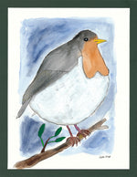 Big Robin - 8.5x11 Watercolor and Pen on Paper - dug Nap Art