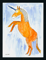 Orange Unicorn - 8.5x11 Watercolor and Pen on Paper - dug Nap Art