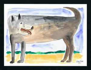 Wondering Wolf - 8.5x11 Watercolor and Pen on Paper - dug Nap Art