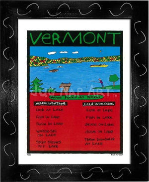 P100 - Vermont Lake Framed Print / Small (8.5 X 11) Black Art