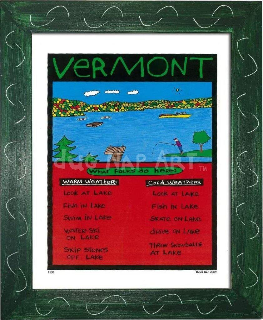 P100 - Vermont Lake Framed Print / Small (8.5 X 11) Green Art
