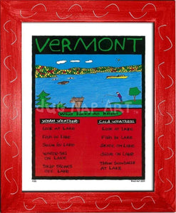 P100 - Vermont Lake Framed Print / Small (8.5 X 11) Red Art