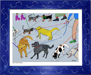 P1001 - Dog Day Afternoon Framed Print / Small (8.5 X 11) Blue Art