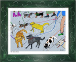 P1001 - Dog Day Afternoon Framed Print / Small (8.5 X 11) Green Art