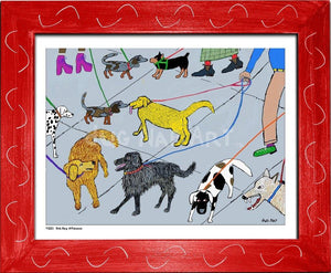 P1001 - Dog Day Afternoon Framed Print / Small (8.5 X 11) Red Art