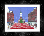 P1021 - Church St Santas Framed Print / Small (8.5 X 11) Black Art