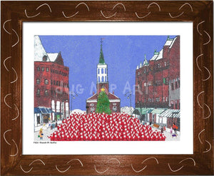 P1021 - Church St Santas Framed Print / Small (8.5 X 11) Brown Art
