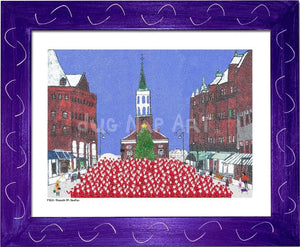 P1021 - Church St Santas Framed Print / Small (8.5 X 11) Purple Art