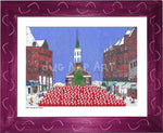 P1021 - Church St Santas Framed Print / Small (8.5 X 11) Violet Art