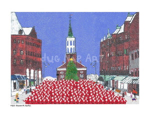 P1021 - Church St Santas Unframed Print / Big (16 X 20) No Frame Art