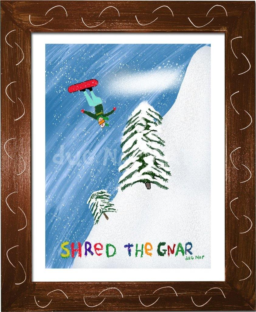 P1022 Shred The Gnar Framed Print / Small (8.5 X 11) Brown Art