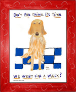 P1023 Go For A Walk Golden Framed Print / Small (8.5 X 11) Red Art