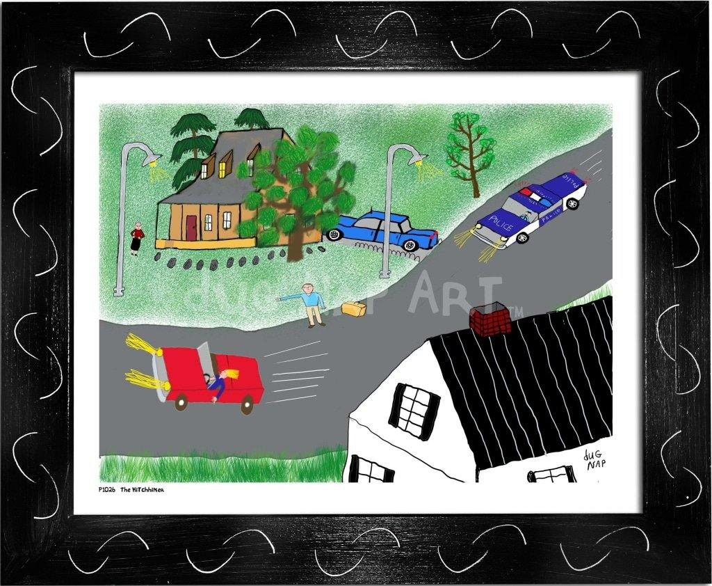 P1026 - The Hitchhiker Framed Print / Small (8.5 X 11) Black Art