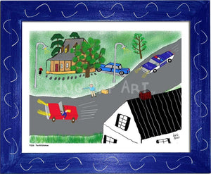 P1026 - The Hitchhiker Framed Print / Small (8.5 X 11) Blue Art
