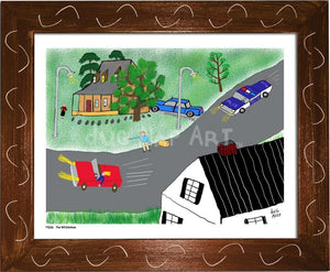 P1026 - The Hitchhiker Framed Print / Small (8.5 X 11) Brown Art