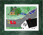P1026 - The Hitchhiker Framed Print / Small (8.5 X 11) Green Art