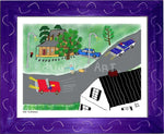 P1026 - The Hitchhiker Framed Print / Small (8.5 X 11) Purple Art