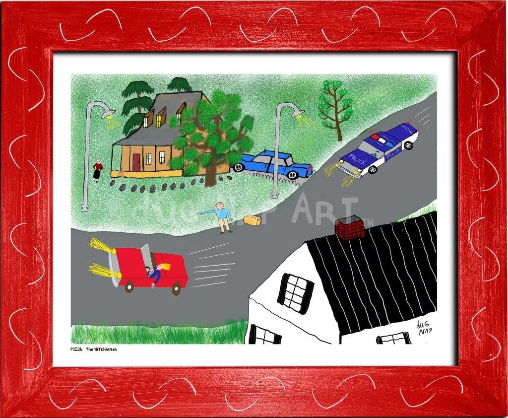 P1026 - The Hitchhiker Framed Print / Small (8.5 X 11) Red Art