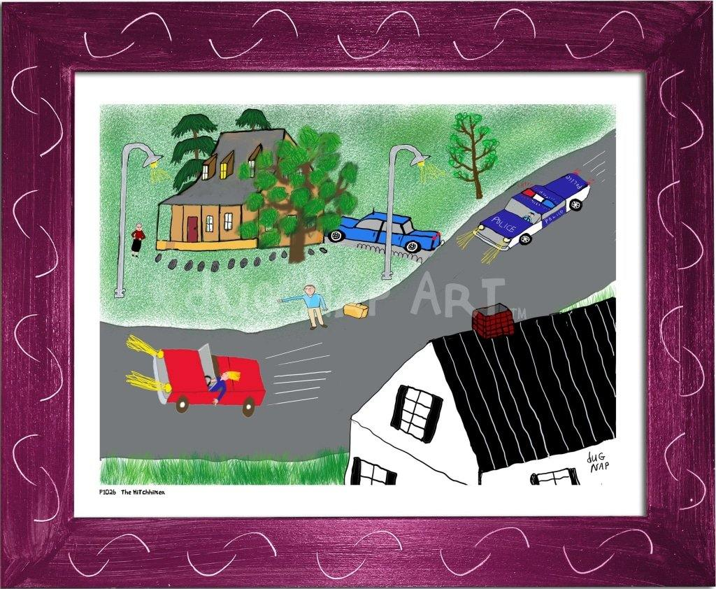 P1026 - The Hitchhiker Framed Print / Small (8.5 X 11) Violet Art