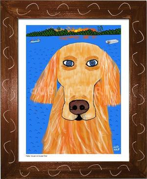 P1032 - Golden On Pond Framed Print / Small (8.5 X 11) Brown Art