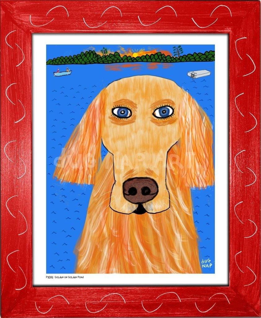 P1032 - Golden On Pond Framed Print / Small (8.5 X 11) Red Art