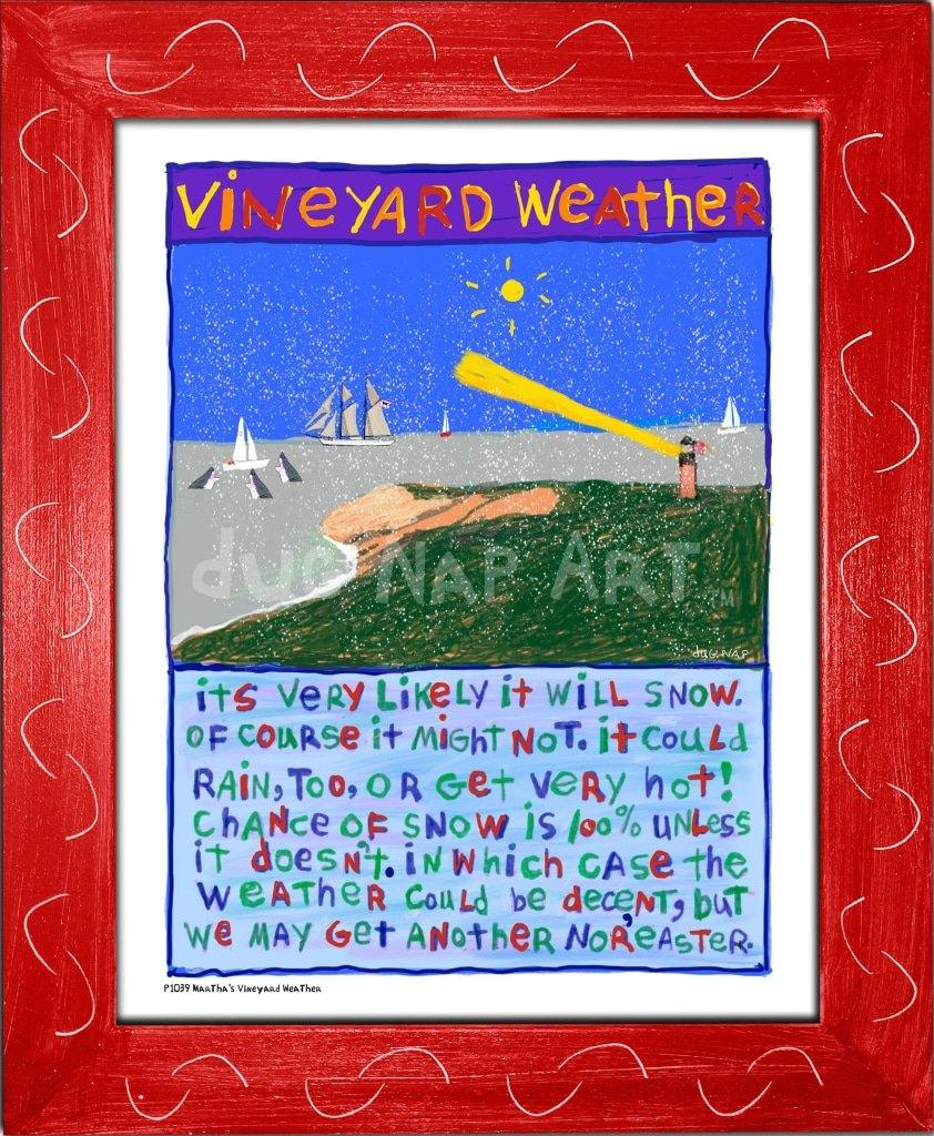 P1039 - Vineyard Weather Framed Print / Small (8.5 X 11) Red Art