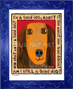 P1041 Good Dachshund Framed Print / Small (8.5 X 11) Blue Art