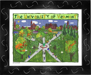 P1047 - Uvm Green Framed Print / Small (8.5 X 11) Black Art
