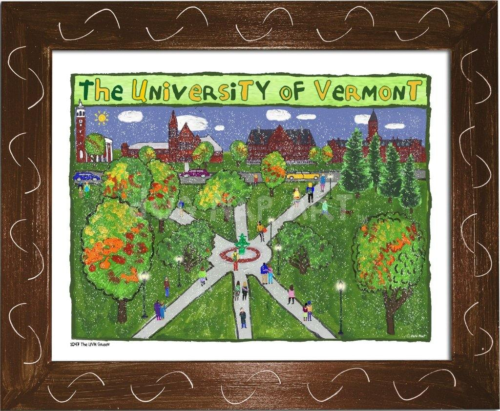 P1047 - Uvm Green Framed Print / Small (8.5 X 11) Brown Art