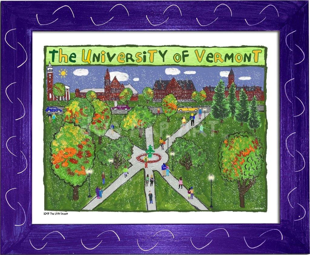 P1047 - Uvm Green Framed Print / Small (8.5 X 11) Purple Art