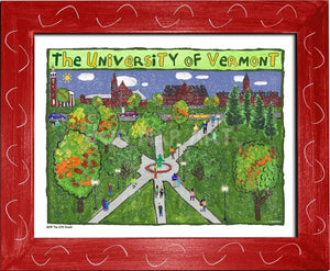 P1047 - Uvm Green Framed Print / Small (8.5 X 11) Red Art