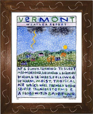 P106 - Vt Weather Report Framed Print / Small (8.5 X 11) Brown Art