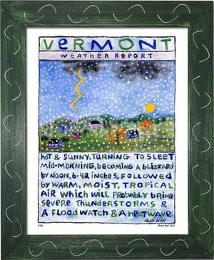 P106 - Vt Weather Report Framed Print / Small (8.5 X 11) Green Art