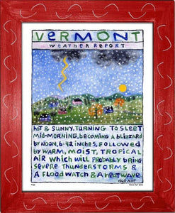 P106 - Vt Weather Report Framed Print / Small (8.5 X 11) Red Art