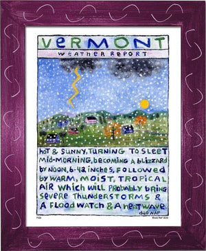 P106 - Vt Weather Report Framed Print / Small (8.5 X 11) Violet Art
