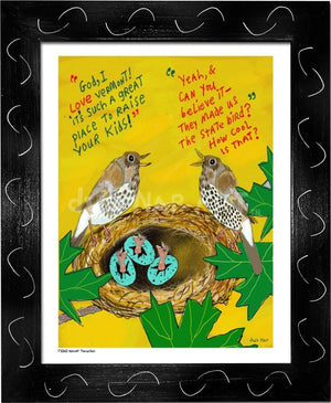 P1060 - Hermit Thrushes Framed Print / Small (8.5 X 11) Black Art