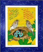 P1060 - Hermit Thrushes Framed Print / Small (8.5 X 11) Blue Art