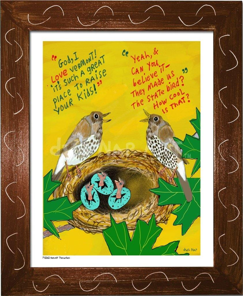 P1060 - Hermit Thrushes Framed Print / Small (8.5 X 11) Brown Art