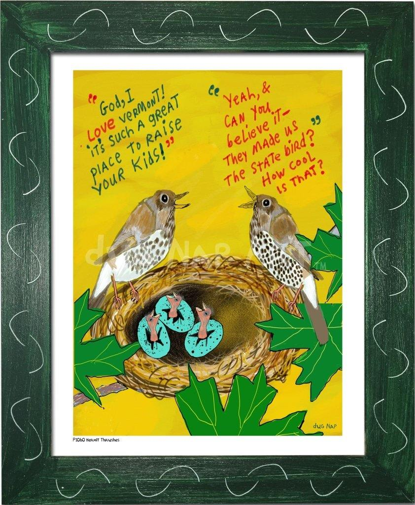 P1060 - Hermit Thrushes Framed Print / Small (8.5 X 11) Green Art
