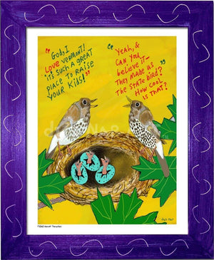 P1060 - Hermit Thrushes Framed Print / Small (8.5 X 11) Purple Art