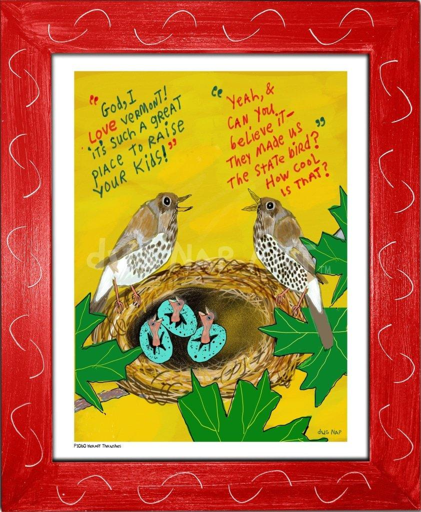 P1060 - Hermit Thrushes Framed Print / Small (8.5 X 11) Red Art