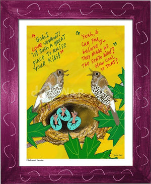 P1060 - Hermit Thrushes Framed Print / Small (8.5 X 11) Violet Art