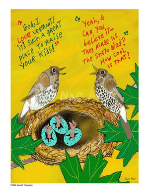 P1060 - Hermit Thrushes Unframed Print / Big (16 X 20) No Frame Art