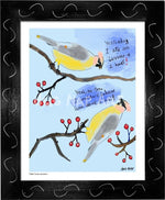 P1063 - Cedar Waxwings Framed Print / Big (16 X 20) Black Art