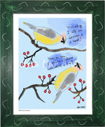 P1063 - Cedar Waxwings Framed Print / Small (8.5 X 11) Green Art