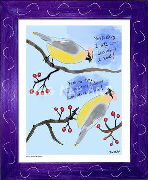 P1063 - Cedar Waxwings Framed Print / Small (8.5 X 11) Purple Art